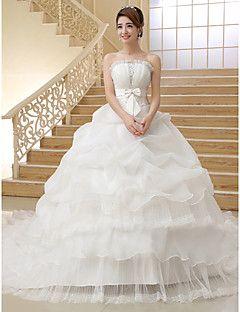 Ballkleid trägerloser Organza Kapelle Zug Hochzeitskleid