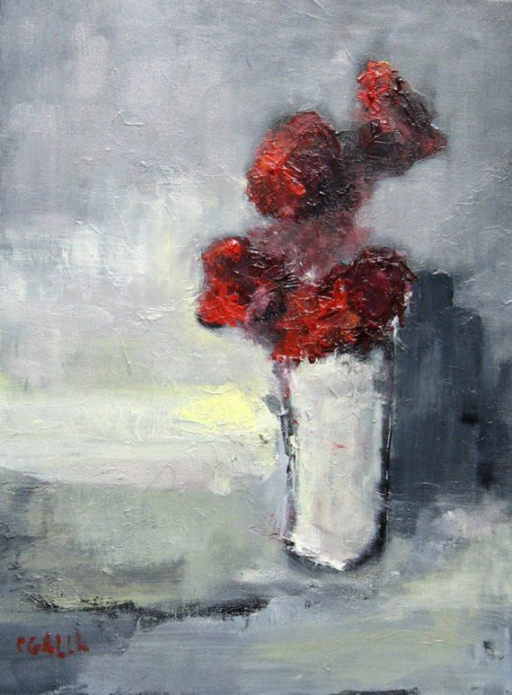 Abstract Flowers Oil Painting on Canvas White by CGallaFineArt, $450.00