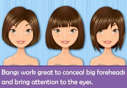 Short hairstyles for people with big foreheads