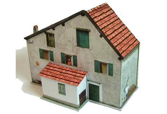 Country House Paper Model - by Zio Prudenzio - Casa De Campo -         A beautiful and easy-to-build model of a Country House, in just one sheet of paper, by Italian designer Zio Prudenzio. In this page you will find a really beautiful castle too.