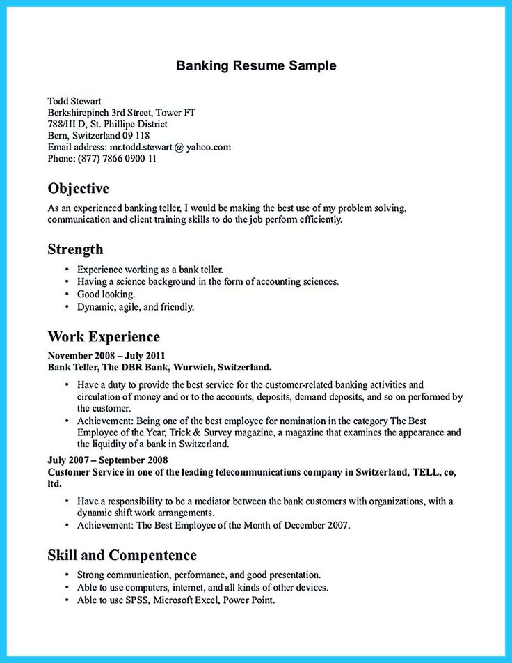 Sample Bank Teller Resume | Sample Resume And Free Resume Templates