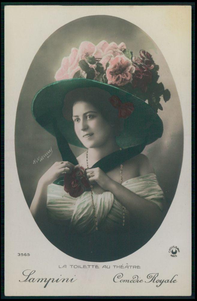 Sampini Comedie Royale Lady Edwardian Theatre Fashion dress 1910s photo postcard