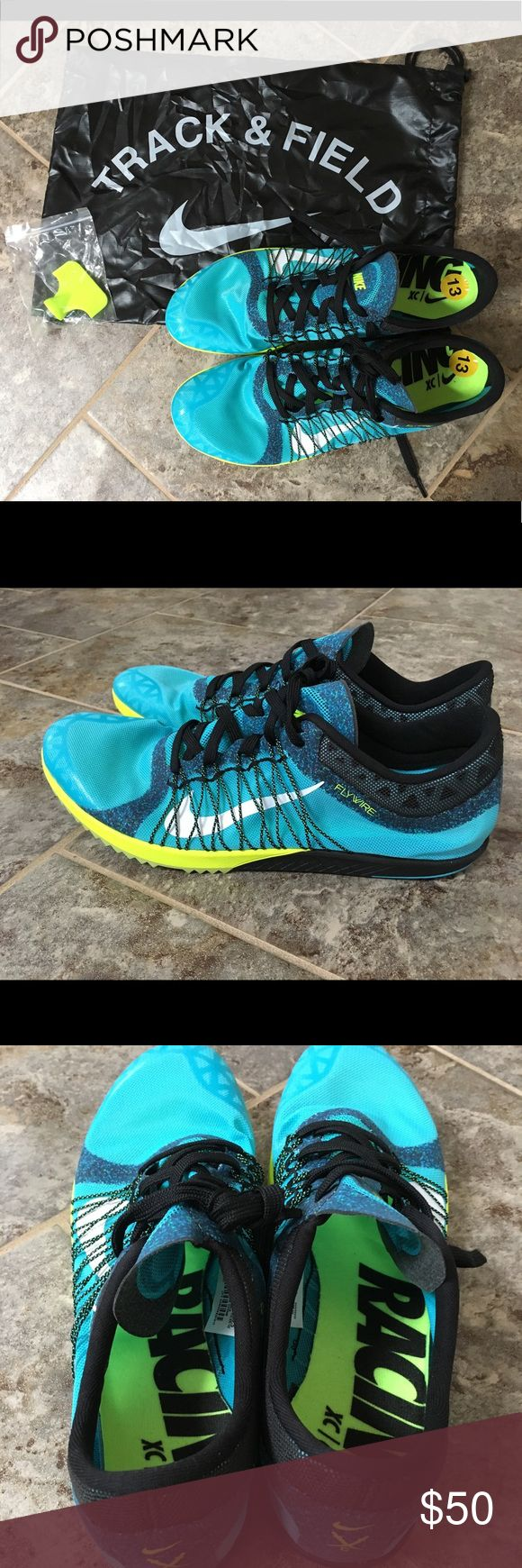 Nike Zoom Ja Fly 2 Unisex Sprint Shoes size 12.5 Brand new, without box. Size 12.5. Color: Blue/Volt. Comes with Nike bag (there is a rip in the bag pictured) and spikes/tool. Please make official OFFERS and BUNDLES! Nike Shoes Athletic Shoes