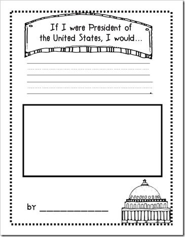 """If I were President..."" sheet... fun idea for a memory book page for the kids during election season.  From Growing Kinders."