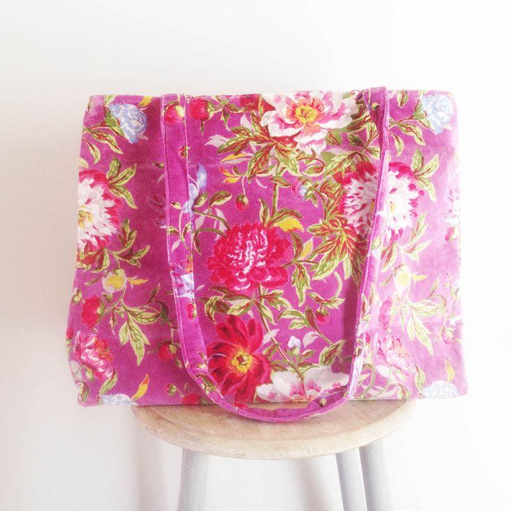 Large velvet Tote Bag in pretty Spring Bloom design in lovely lilac colour. www.rosaliving.co.nz www.rosaliving.com.au