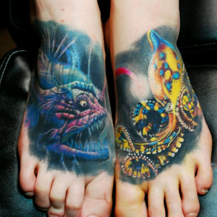 angler fish vs blue ring octopus tattoo studio 31. Black Bedroom Furniture Sets. Home Design Ideas