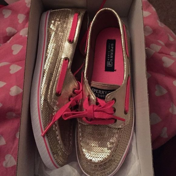 gold and hot pink sperrys .... trade value $40 stunningg!!!  Sperry Top-Sider Shoes