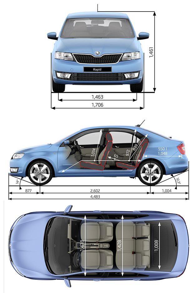 Škoda Rapid 2013 - dimenzije / Skoda Rapid 2013 dimensions