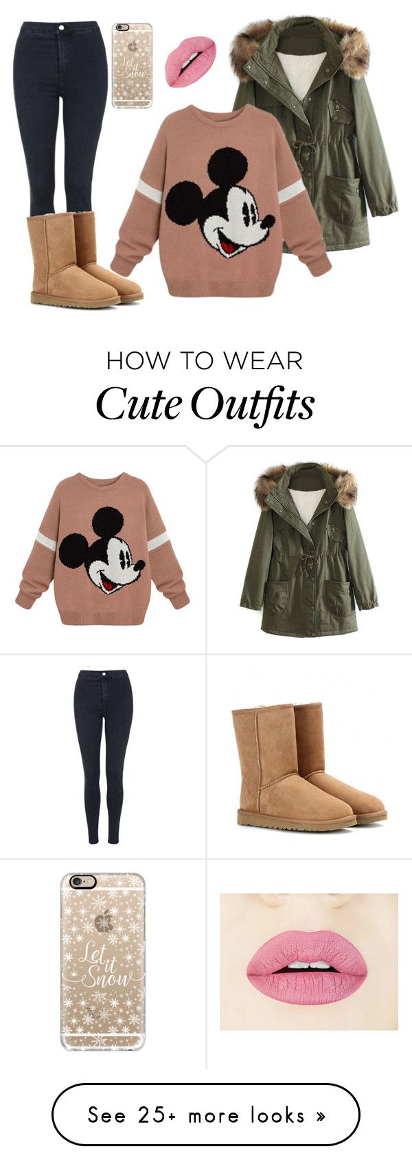 cute winter outfit by wildkate on Polyvore featuring Topshop, WithChic, UGG Australia, Casetify, womens clothing, womens fashion, women, female, woman and misses