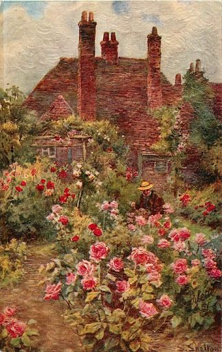 Cottage Garden painting is one of my very favorites in my cottage