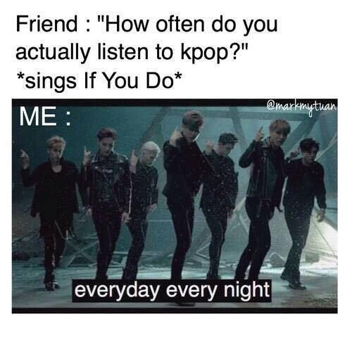 """This is what happen at school my friend was like """"are u listening to that kpop stuff"""" and I replied....!~♡♡♡♡"""