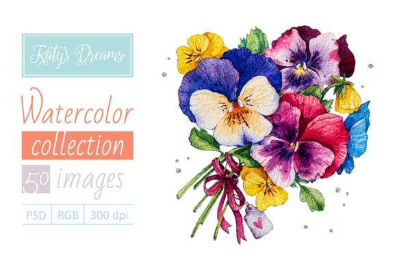 Watercolor set-Pansies by Mikheeva Ekaterina on Creative Market