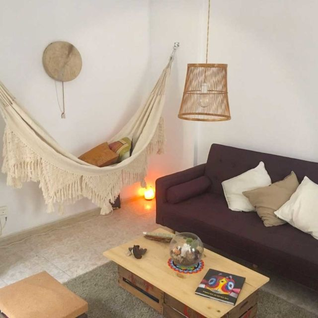 Getting an indoor hammock will create an oasis at home, a space to relax and enjoy, a happy corner that can be glamorous or bohemian. This Picture is sent by our customer who lives in Colombia.
