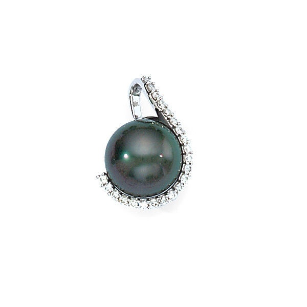 Elegance Collection 14K White Gold Diamond Wrapped Cultured Black Tahitian Pearl Pendant