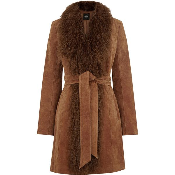 OASIS Suede Sheepskin Coat (£180) ❤ liked on Polyvore featuring outerwear, coats, natural, tie belt, brown coat, suede leather coat, brown suede coat and sheepskin coat