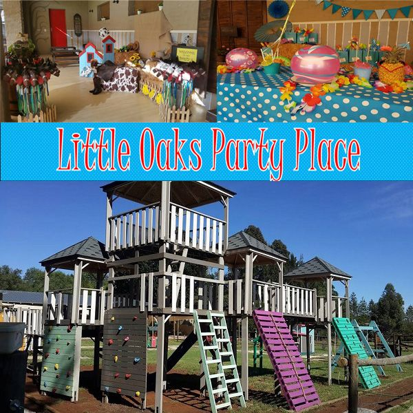 """Little Oaks Party Place is a modern """"farm-house, country life"""" all-round Party & Events venue can be found nestled amongst the trees, surrounded by a tranquil & peaceful setting of bush, koppies & farm life.  We offer enough space to accommodate larger groups whilst still maintaining a cosy atmosphere for smaller parties.  The adult outdoor seated area, all under shade cloth, can accommodate +/- 100 people , whilst our indoor area can accommodate +/-100 guests seated and can be used for any…"""