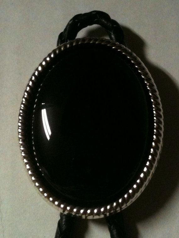 NEW real oval black onyx bolo tie silver plated setting western dance wedding silvertone tips movie prop, $20.00