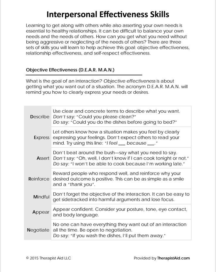 Dbt interpersonal effectiveness skills communicating
