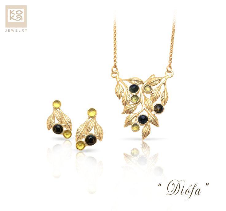 """Diófa"" (arany, turmalin, olivin) #jewelry #necklace #earrings #gold #yellow #preciousstone #green #unique #kokadesign #surprise #wife #handmade"