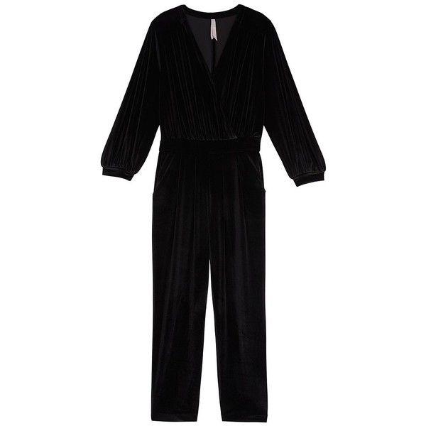 Melissa Mccarthy Seven7 Plus Surplice V-Neck Velvet Jumpsuit (£110) ❤ liked on Polyvore featuring plus size women's fashion, plus size clothing, plus size jumpsuits, black, plus size, velvet jumpsuits, pleated jumpsuit, jump suit and plus size v neck jumpsuit