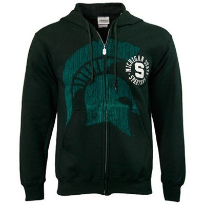 Michigan State Spartans Green Zippity Zip Hoodie Sweatshirt  #Fanatics