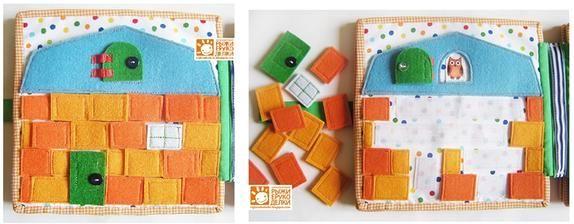Zeď domečku: uspořádat cihly . Materiál filc,bavlna, suchý zip, knoflíky.