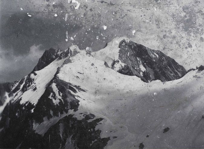 """What transforms a towering mound of earth into a """"landscape""""? The artist? The photographer? Or the viewer? These colossal oil paintings of the Tyrol Mountains evoke such questions. Based on b & w photos Stingel commissioned, they show the filaments from the photos, scratches from the lens, & dust accumulated from his studio. Such details transform the works from mere landscape paintings into haunting meditations on the act of representation. """"Untitled"""" (2010). Oil on canvas. By Rudolf…"""