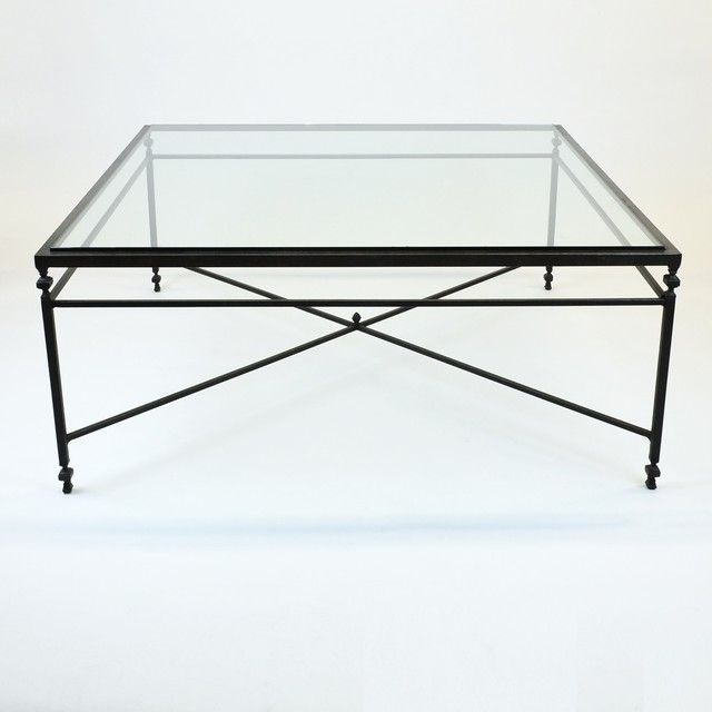 Elegant Large Square Glass Coffee Table 48 W Coffee Tables Beautiful Framed Glass  Top Iron Metal Base