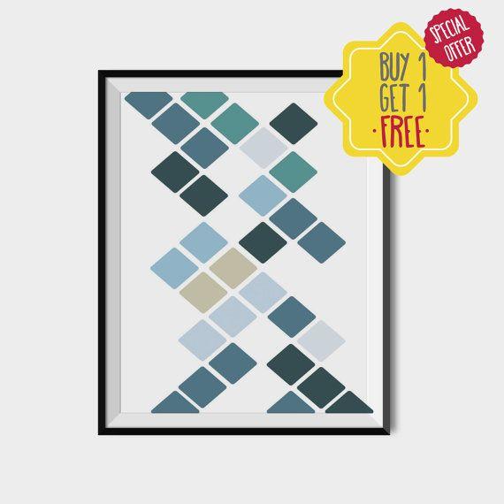 Blue minimal wall decor, Blue geometric print, Blue scandinavian art, Polygon instant download, Blue shapes poster, Geometric wall art print