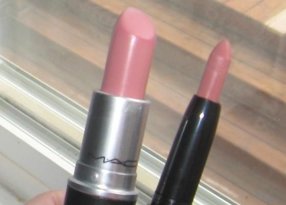 "MAC Cremesheen Lipstick in ""Creme Cup"".  The dupe is E.L.F. Studio Matte Lip Color in ""Natural""."