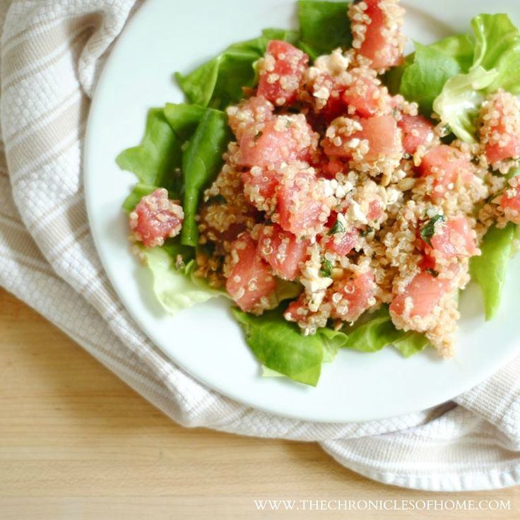 Quinoa Salad with Watermelon, Feta, and Basil