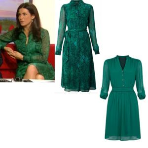 Where did Susanna Reid get her green dress from on BBC Breakfast 7/01/14? - Style on Screen