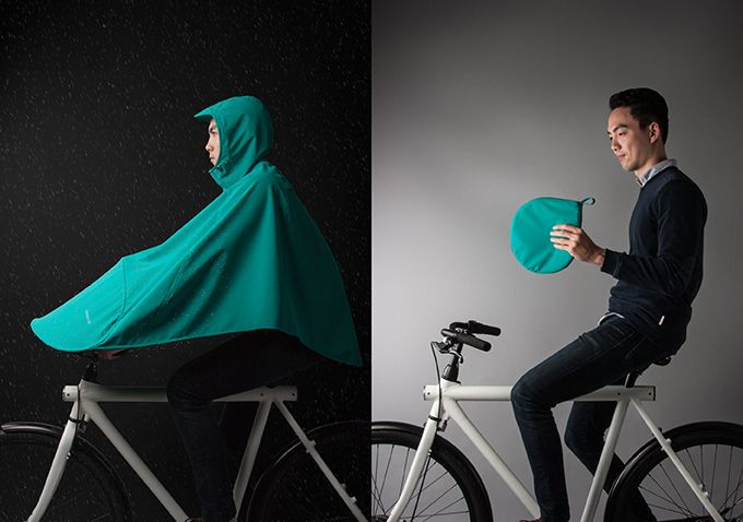 The Boncho keeps bike riders dry in the rain. It extends over the handlebars to repel water and can be worn with a helmet.