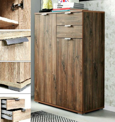 Large Storage Chest of 2 Drawers 2 Doors Sideboard Dark Oak Office Cabinet Unit  #DBAFurniture