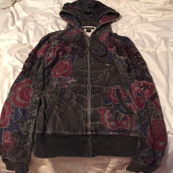 Lucky Brand Japanese Hoodie Hoodie with beautiful dragons, lotus flowers, and Japanese writing. Definitely a one of a kind sweatshirt! Lucky Brand Jackets & Coats