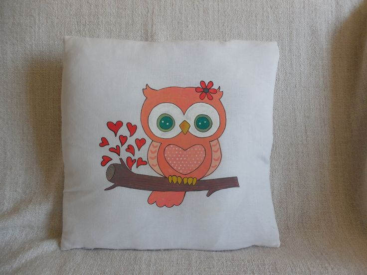 "Hand-painted pillow ""Pink owl"""
