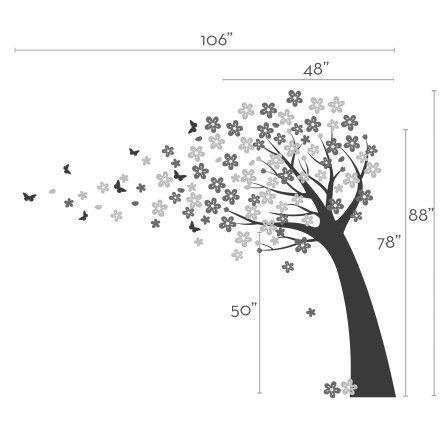 Este árbol de cerezo que agrega un toque lindo a nuestro original árbol de flor de cerezo. Diseñado para que una colocación perfecta fluir detrás de su cuna!  Árbol de tamaño de la etiqueta (aprox.): 48 w x 78 h Tamaño total como se muestra (aprox.): 106 w x 88 h  (este tamaño es perfecto si tienes típicos techos de 8 pies y un zócalo de 4 pulgadas) Tamaños más grandes o más pequeños disponibles, convo a nosotros!   Lo que ha incluido > Árbol > Cerezos flores flor de 2 colores > Set de 10…