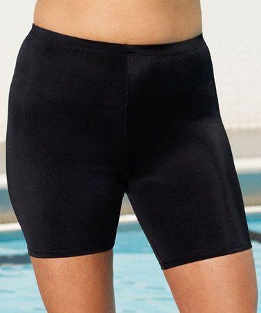 Look at this #zulilyfind! Black Long Swim Shorts - Women & Plus #zulilyfinds
