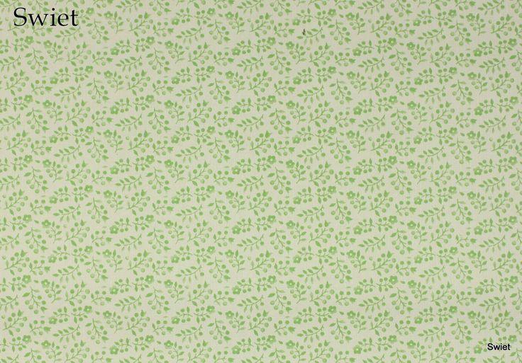 Groen wit bloemetjes behang