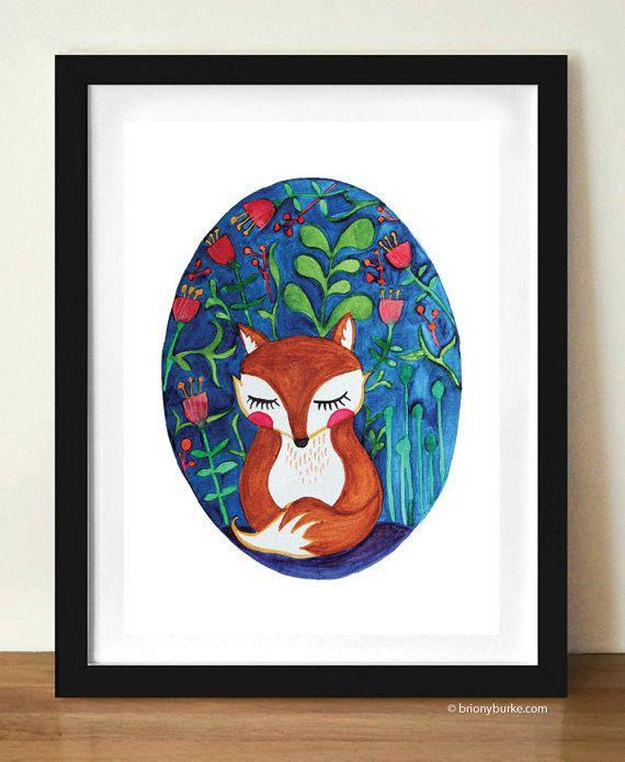 Watercolour Fox Print Illustration Children's Room by BrionyBurke