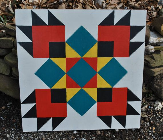 Bear Paw - 2 x 2 Barn Quilt Square painted on wood via Etsy