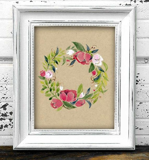 Peony Flower Wreath Original Watercolor Botanical Painting
