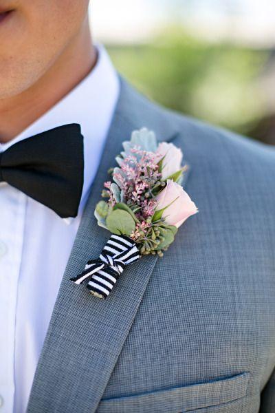 Preppy boutonniere: http://www.stylemepretty.com/canada-weddings/manitoba/winnipeg/2014/11/20/vintage-glam-winnipeg-wedding/   Photography: Moore Photography - http://moorephotography.ca/
