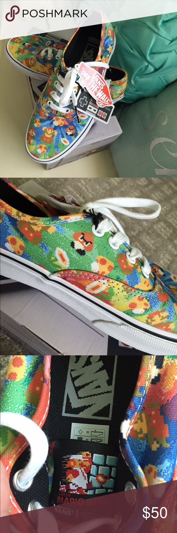 TEMPORARY PRICE NEW Nintendo Super Mario Bros Vans Authentic and brand new with tags - Nintendo Mario Brothers Vans. They come with a collectible gaming system box and exclusive Mario Brothers tag. Perfect for the gamer or the Vans enthusiast. Limited edition! No trades Vans Shoes Sneakers