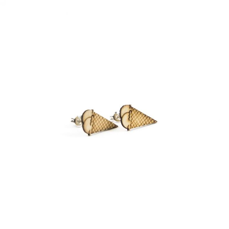 Lasergesneden oorbellen / oorknopjes van kurk, hout, leer / Laser cut earrings / earcuffs made of cork, leather, wood - Oorknopjes Hoorn