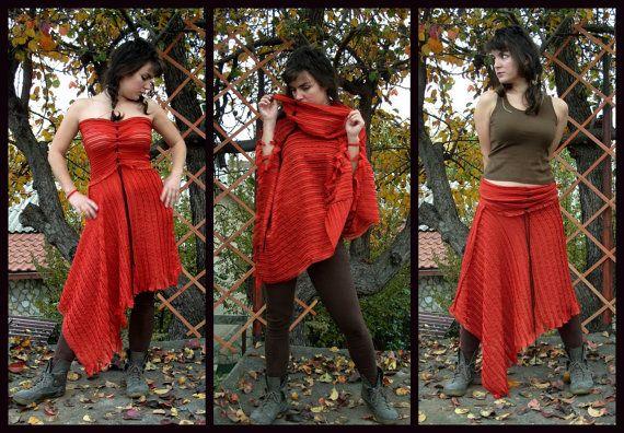 3 in 1 Reversible Dress / Poncho / rok, Pixie kleden, Fairy rok, Indische Poncho, asymmetrische rok, Boho Poncho