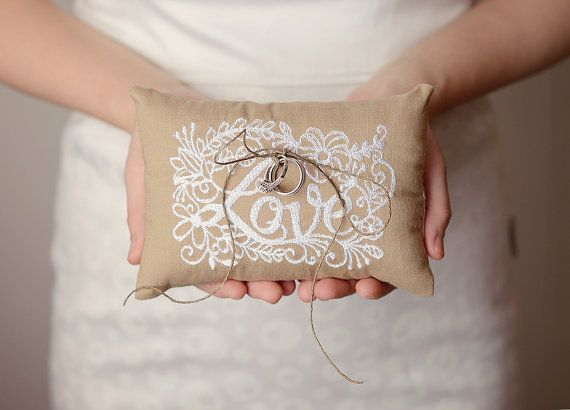 Anna  6x6 Wedding ring pillow  Embroidery by HannahAspensbridal, $17.00