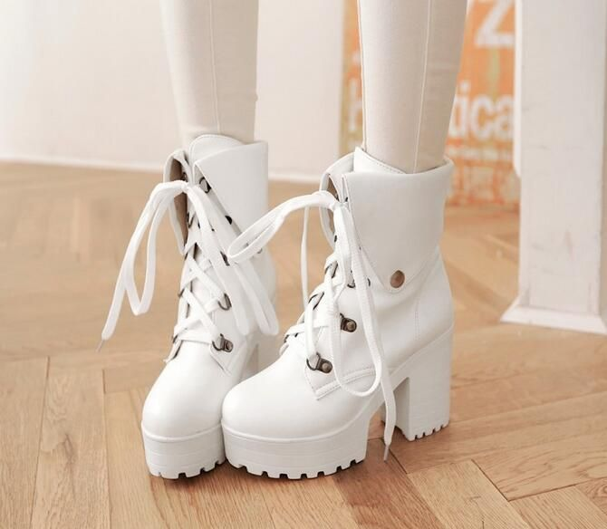 Women Chunky Heel High Heel Boots PU Leather Lace Up Fashion Boots With Platform New 2017 Ladies Black Boots White Boots