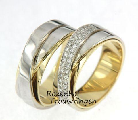 Diamant, bijzondere, exclusieve trouwringen-Gecompliceerde, tweekleurige trouwringen met schitterende diamanten
