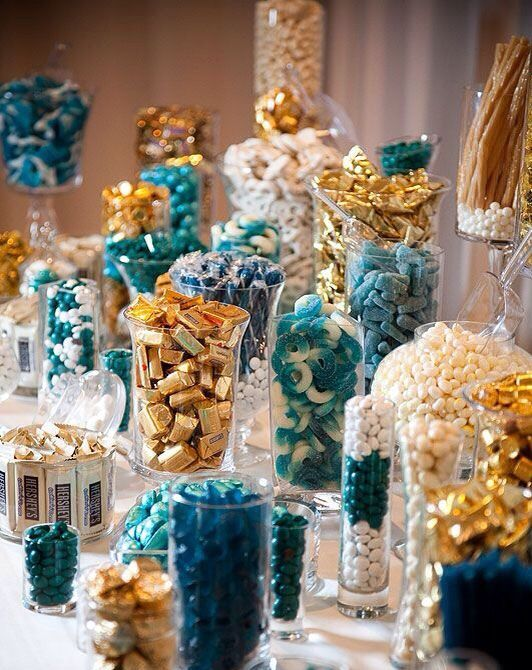 Candy buffet in lots of gold and blue candy